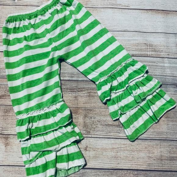70908a4637c7a8 Bottoms | Green White Striped Boutique Ruffle Pants | Poshmark